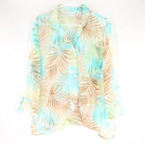 Alfred Dunner Palm Tree Print Button Up Blouse 12P